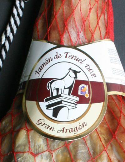 Jamón de Teruel con Denominación de Origen. primer plano